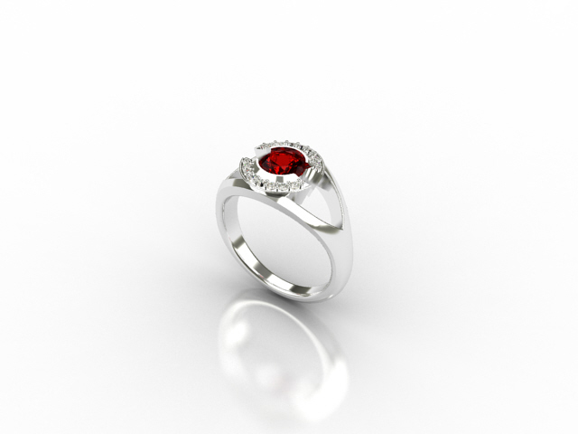 white gold ring with diamonds and ruby