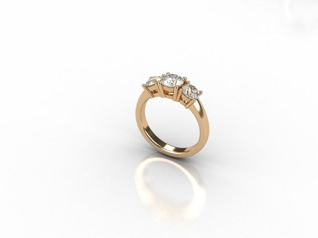 18 carat rose gold ring with white diamonds
