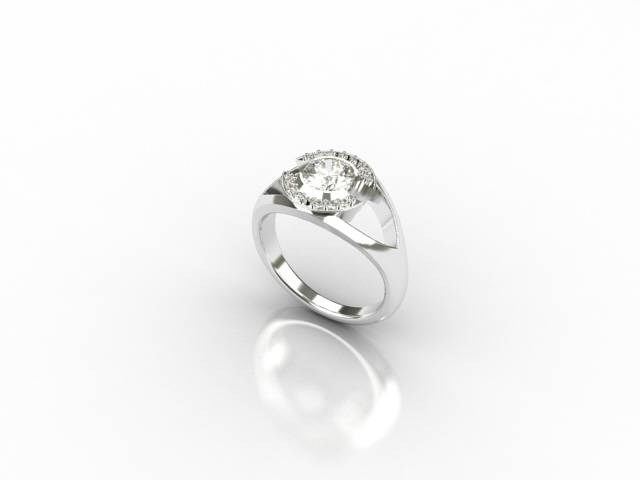 18 carat white gold ring with centre diamond and 14 small diamonds
