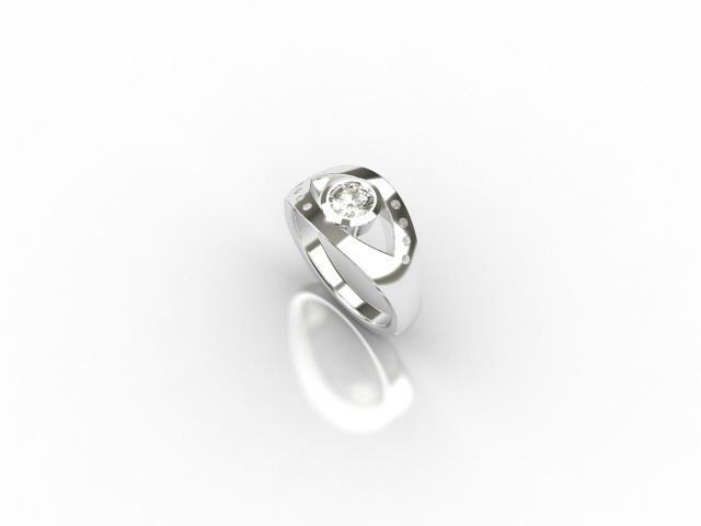18 carat white gold ring with centre diamond and 8 small diamonds