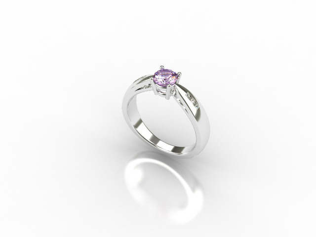 18 Carat White Gold ring with Pink Sapphire and Diamonds