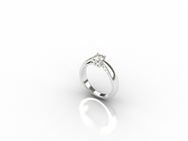 18 carat white gold ring with centre diamond
