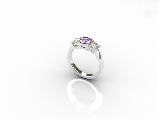 18 carat white gold ring centre Pink Sapphire and two side diamonds