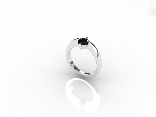 18 carat white gold ring with black diamond
