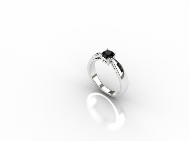18 carat white gold ring with black diamonds
