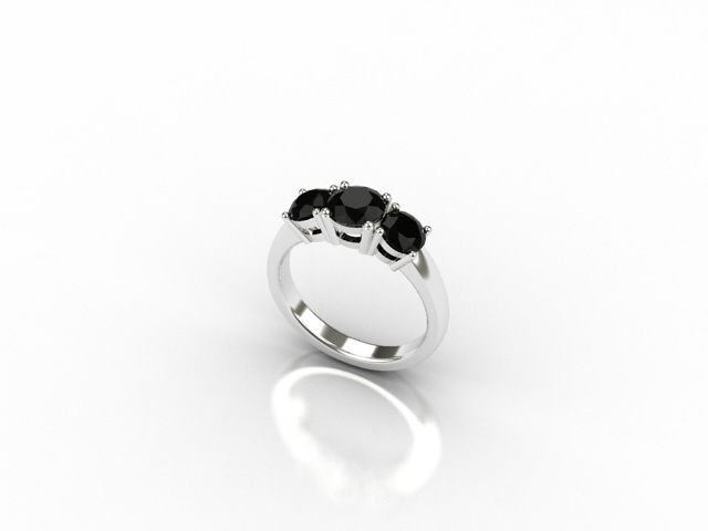 18 carat white gold ring with 3 black diamonds