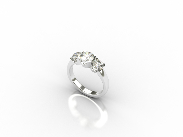 18 carat white gold ring with 3 diamonds